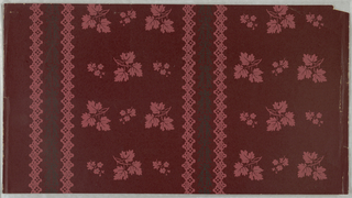 "Burgundy red background; leaf cluster and smaller leaf and flower cluster in pink repeated alternated and reversed in three regular vertical rows, these groupings interrupted by fine linear pattern of two intertwining black vines between two vertical lace-like pink bandings. Printed (in pink) on margin: ""Exclusive Hand Prints, The Birge Co., Inc."""
