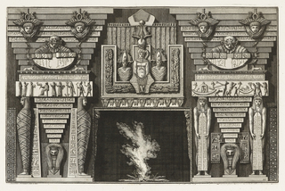 Fireplace decorated with Egyptian attributes: mummies, masks, several figures, panels with hieroglyphs.