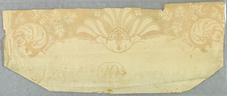 Horizontal rectangle. Design of palmettes, vines and scrolls. Irise or rainbow insets in the shape of leaves. Printed in yellow-orange and turquoise, on paler neutral yellow-orange ground.