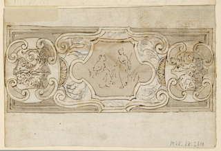 Three eschutcheons are in front of a slightly shorter oblong panel. A seated and a standing woman are sketched in the center of the panel which is supposedly made of marble. The lateral escutcheons face eachother, they show winged female half-figures flanking a plant. On verso: The apostle is shown standing de face, his face turned to the right. The left hand is akimbo, the right holds a staff. Gray background.