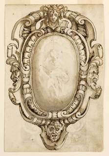 Vertical rectangle. A scrollwork escutcheon showing a female mask at top center, a satyr mask laterally, male mask between them. On verso: a seated woman reading and framed by a quatrefoil which forms the center of the panel with trefoils at bottom and on top. Plant scrolls and female masks facing each other as decoration. The upper panel is fasted by nails to the lower, slightly shorter one.