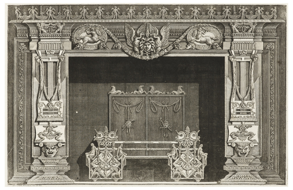 The image depicts a chimneypiece with female figures and masks decorating the andirons. The jambs consist of Greek keys, masks, and other composite classical symbols. The mantel is decorated at the center with a medusa-like head, flanked by swans and then by satyrs. Above is a frieze of winged putti.