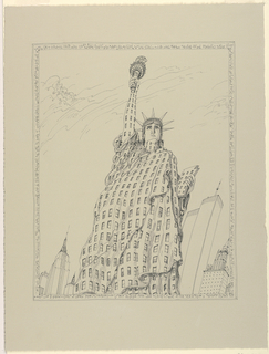 View of large building in shape of the Statue of Liberty, flanked by other buildings. Text frames the image.