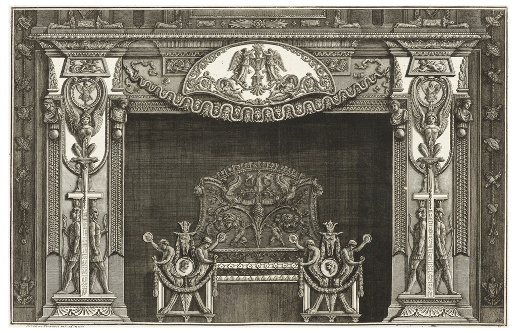 The image depicts a chimneypiece with four young men decorating the andirons. These men have lion paws for legs, holding garlands in one hand and a coin in the other. Behind them, a symmetrical image of a plant formation with satyrs, birds, and laurel, among other symbols. The jambs are identical and are composed of Egyptian figures in profile flanking a cross with hieroglyphs topped with a seated sphinx with its wings around a medallion depicting military symbols. The mantel depicts a cartouche with winged deities holding a vase, all bordered by vines, above a garland made up of faces.
