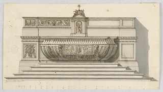 Horizontal composition of an altar with two steps leading to the bowl-shaped mensa. The mensa is fluted and decorated with a representation of the preaching of a sermon. Behind the mensa is a dado. Above the mensa is a very high ledge with the tabernacle in its center. The scale is below.