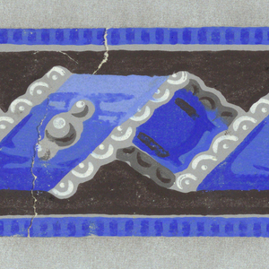 Blue twisted ribbon on black ground, with grey scalloping.  H# 627