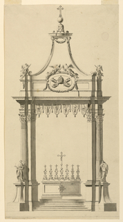 Vertical composition of a papal altar with six steps that lead to a mensa with a crucifix and seven candlesticks. On the sides there are canopy supports which consist of ttwo pilasters and a fluted comumn. Statues of male saints stand in front of the column on pedestals. The entablatures are connected by a frieze of lambrequins, showing the columns supporting the entablature and a voluted, conical roof.