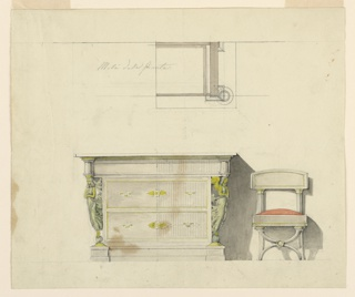 Horizontal rectangle. At top, the right half of a plan for the chest of drawers with a graphite inscription. Below at left is the dresser seen from the front. Its upper drawer has laterally capitals supported by two winged female genii standing upon small balls beside the lower two drawers. Below is a vase. At right, chair seen from the front with red upholstery. The front legs have the shape of two curved and crossed cornucopias.