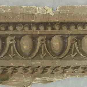 Architectural moldings, including dentil, beading, egg and dart, and twisted ribbon. Printed in grisaille.  H# 464