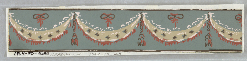 """a) Narrow border fragment. On russet-red background, between two horizontalblack lines, white swags with scalloped lace-like edges and black cross- marks. Black tassel on chain between, and black bow above each swag. Faint blue shading of bow, swag, tassel; b) Reproduction of pattern of """"a"""" in different colors: on gray background, off-white swags, with red shading."""