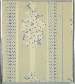 Vertical rectangle. Portion of a paper with alternating wide and narrow bands set off by vertical blue and white stripes. Wide band set with alternating floral bouquets along white band; narrow band set with simple meander flanked by dotting.
