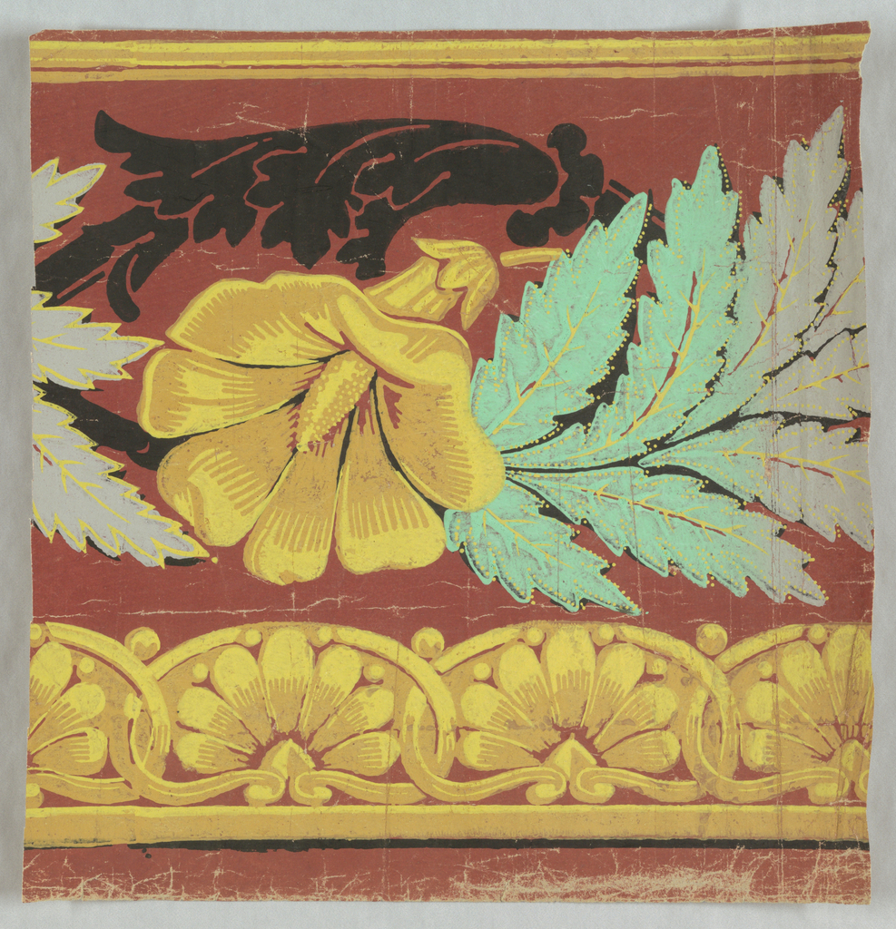 Yellow flower beneath black acanthus foliage, alternating with branch of leaves which change from green to gray. Band of anthemia-like motifs run along bottom edge. Printed on deep red ground.