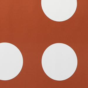 Pause has an 18 inch vertical repeat which consists of two nearly identical rows. The one row contains three periods followed by a comma, then by a space. The second row contains a space, then three periods followed by a comma. Printed in the orange colorway the design contains white commas and periods.