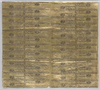 Wrapping Paper, Uncut Sheet of Wrappers for W. Monroe's Fine Quality Writing Pencils, 1811