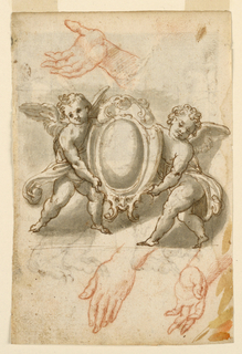 At top, a right hand shown from the inside. At center, two standing putti hold an escutcheon. At the bottom, a left hand, pending, shown from the back and from the thumb. On verso: at top, a relief with four men busied with the cross. A group of three men is at the right and a man and a ride are at the left. At the bottom, a bear shown in profile turned toward the left.