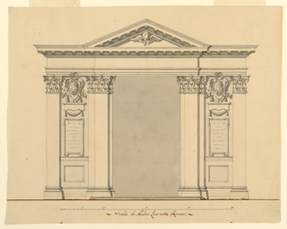 Large opening flanked by pilasters and wall panels which show the coat-of-arms of a prelate over inscription tablets upon which the letters DOM are visible. Triangular pediment with a cherub. Base line. Scale below.