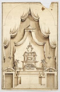 Drawing, An altar with a structure for the exhibition of a cross, probably a Holy Sepulchre, 1725–1750