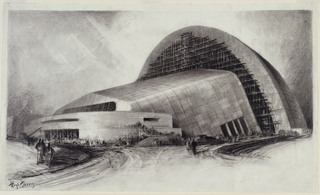 Side view of a large hangar-like building under construction.  Consists of three parts: convex facade, centrally inclining body, and domed rear. Suggestion of people at entrance of  building.