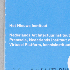Blue ticket printed with black and white text and three holes.