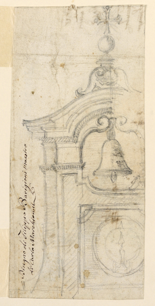 Design for the left half of a bell tower. Below the bell, a clock. Above the bell, a Greek cross.