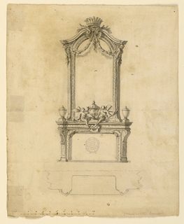 Design for mantelpiece with mirror. At top, a broken pediment with crown, shell and swags. Sitting on mantel, two figures and three cases. Plan below.