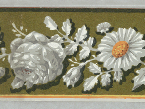 Floral border printed in shades of gray and white, with yellow daisy centers. Printed on brown ground with two light-color bands running along the bottom edge.