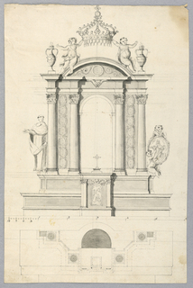 Vertical rectangle showing elevation. At the top, a tabernacle, showing the Annunciation at its door, stands in the center of a ledge and at the base of the retable. It has the shape of an aedicula with four embedded columns. On each side, there are two rows of seven ovoidal frames. A saint stands at the left. A putto, carrying an oivoidal medallion with a saint, sits at the right. A circular pediment is on top, flanked by two urns containing fire. Two putti sit upon it and support a crown. At the bottom is a scale and a plan of a retable in pavilion shape. On verso: pencil plans with scale in the opposite direction.