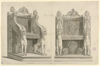Page divided vertically. At left, a view of the throne from an oblique angle. At right, an elevation. Scale below. Throne back is a square form decorated with the Bacchic symbols of grapes and musical instruments. The arms and forelegs of the throne are in the form of griffins, whose wings transform to volutes with beadwork. Between the legs are two masks flanked a vase with lion handles.  The seat back is decorated with the hide of a boar, possibly that of the mythological Calydonian Boar.