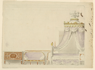 Elevation of bedroom furniture. At left is a commode with two drawers, strait legs and an oval panel of marquetry. Beside is a couch with curving back and half of a chair with a similar silhouette. At right, a lit polonaise with lilac and white textile. White plumes above the tented top. Suggestion of striped walls.