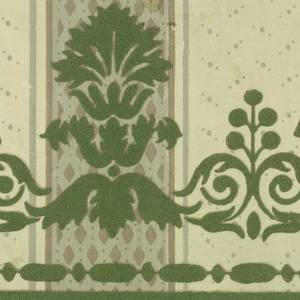 "a) Stripe with diapered pattern, flanked by broad dotted stripes containing sprigs of leaves; b) Companion border of palmettes, ivy leaves, acanthus, bead and reel stripe, with narrow and broad bands on edge, overprinting sidewall pattern in flock. a) Colors: Pale celadon, light olive, gray, jade and forest green and yellow; b) Colors: same as ""a"" except for yellow."