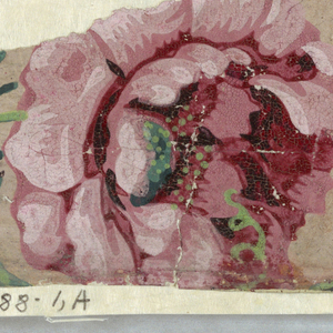 """a,b) Incomplete repeat showing pink roses with green leaves and part of a vase form; c) white flowery forms (part of the above paper) with grisaille and brown flock border attached;d,e) grisaille and brown flock border like one in """"c""""."""