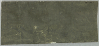 Rectangular piece of paper printed, in solid color, with dark neutral green.