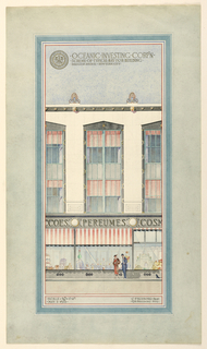 Elevation of design for bay of three story building.  Windows display cosmetics and perfumes.  Lettered above:  Oceanic Investing Corp'n/ . scheme.of. typical.bay.for.building./Madison.Avenue - New York City.  Seal of corporation , upper left.