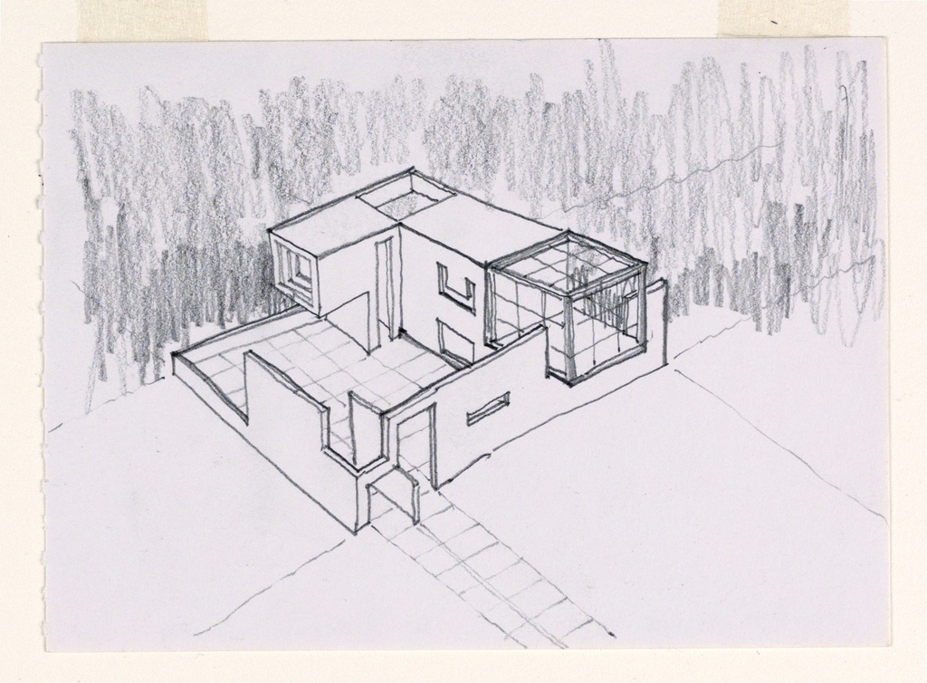 Design for L-shaped house with enclosure around courtyard, 4 units interlock to form an L emphasizing geometric forms of cubes and squares. Unit at end of house slightly overhangs glass-enclosed room at other end. Irregularly shaped wall around court with segments cut out; square-patterned courtyard floor extends to walk leading from door to outside. Matted with 1995-46-4.
