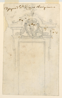 Vertical rectangle. In the center of the overdoor is an escutcheon, probably with the wing as the charge. Verso: parts of same sketches.