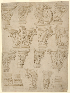 Group of architectural designs showing fourteen portions of composite capitals and four bases. Top row: three right halves of capitals shown in elevation. A figure of a harpy with a fishtail scroll. Second row: two left and two right halves of capitals. Third row: four right halves of capitals, one left half. The tops of the shafts are shown below four of the designs. The fifth is supported by a fluted bracket. Bottom row: two right parts of bases of fluted columns, the left half of a capital, a bearded head supporting a fluted bracket fragment of a moulded base, shown from a corner. Verso: at top right, a capital obliquely shown. At bottom edge, three top parts of capital and the left half of another.