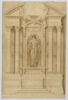 Vertical composition with the elevation of an altar. Three steps lead to the mensa in the center of a dado. A niche with triangular pediment forms the central part of the retable. A statue stands inside the niche which has been changed by overdrawing into what seems to be St. Clara. The niche is flanked by pairs of columns and panels that are decorated by rows of three oblongs and two brackets. At the top there is an entablature and the cornices of a broken pediment. The inner corners are supported by two angels seated on the entablature.