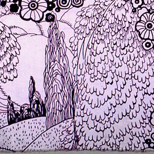 Vignettes of open fields in frame made of flowers in dark purple.