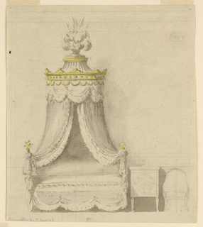 Elevation of a lit polonaise with lilac and white textile. A tented top with gilded details and plumes of white ostrich feathers. Contours of table and chair at right.