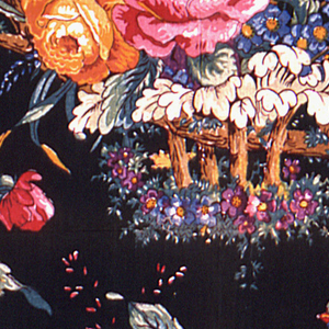Birds on a curving branch with flowers and mushrooms on a dark background.