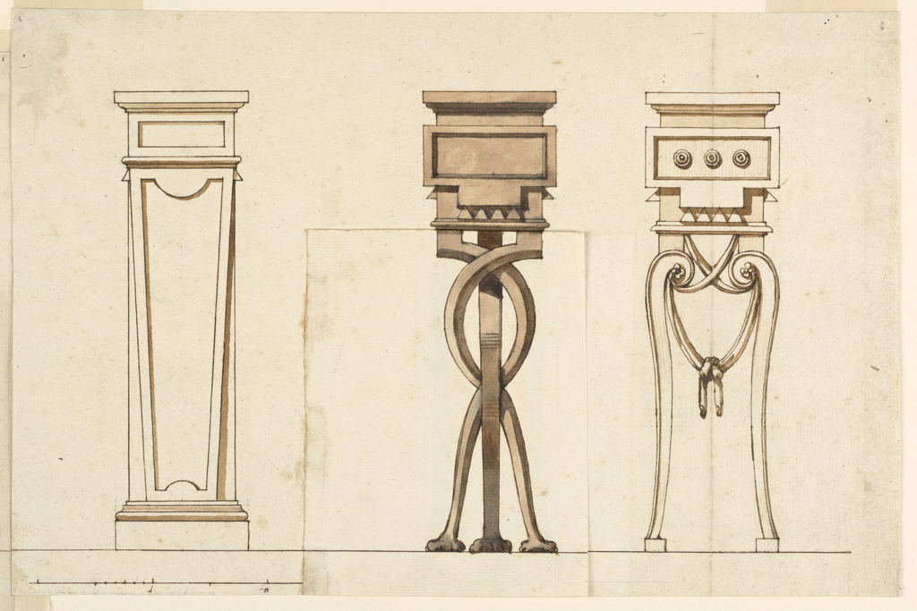 Three designs for wooden pedestals. At left, an unornamented tapering pedestal. At center, three entwining legs. At right, scrolling legs with handing drapery.