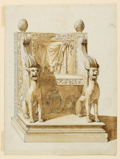 Drawing, Antique Chair with Bacchic Themes