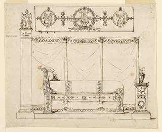 "Design for an Empire style bedroom. At center, a couch with one scrolling arm stands on a platform. At right, a classical stand with an ewer. At left, a column inscribed ""la bonne desse"" (the good goddess). Atop this, an enthroned woman. Behind, are three panels of drapery separated by standards with lion masks. Above this, a horizontal panel with a lyre within a laurel wreath."