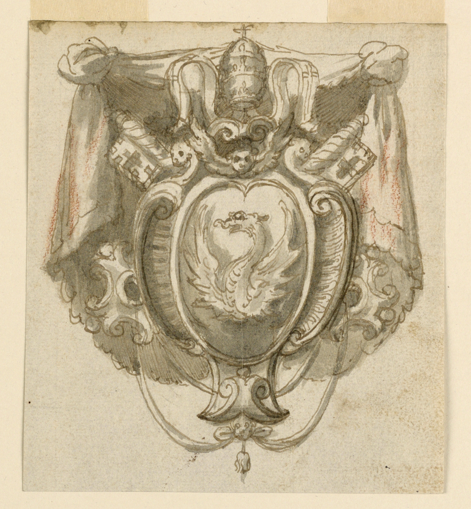 Coat of arms shown in front of a manteling. On verso: gray colored.