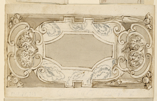 Three escutcheons in front of a slightly shorter oblong panel, lateral escutcheons face each other. On verso:An escutcheon in part of an oblong panel, masks face each other, laterally