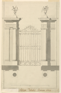 Project design. A gateway in a garden or villa wall. The pair of iron gates is flanked by pairs of pilasters and on each side a projecting freestanding coumn. Pilasters and columns have ionic capitals. Each cornice is topped by an urn sprouting scraggly leaves. Below is the groundplan, and measurement scale.