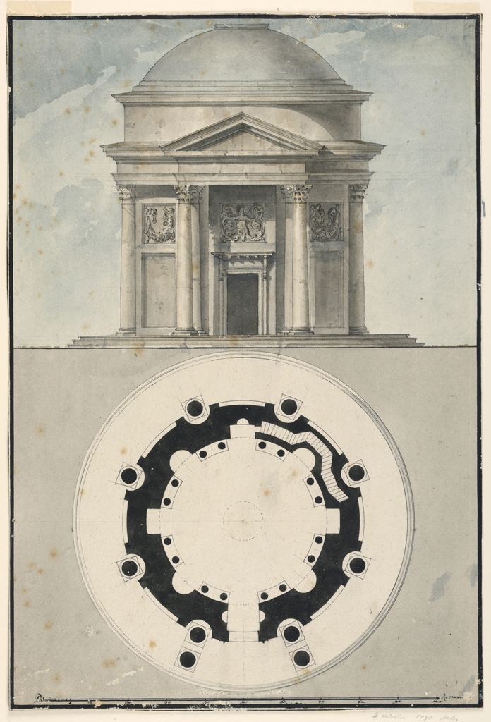 Circular, domed temple in elevation and plan, with a portico and triangular pediment.  Portico supported by Corinthian columns which also decorate the temple exterior.  Frieze above door with siren whose double tail ends in rinceaux design; panels on either side of door with rinceaux or fish relief.