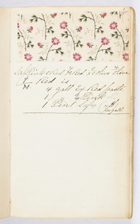 Small notebook with handwritten formulas for dyestuffs for printed textiles. Contains 183 samples of printed fabrics, mostly floral patterns.
