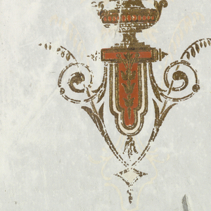 Two incomplete widths, with light gray ground, joined. Against one width is stamped in gold, with dull red details, the single motif of an urn with flowers, supported by a lambrequin and opposing scrolls and vines.