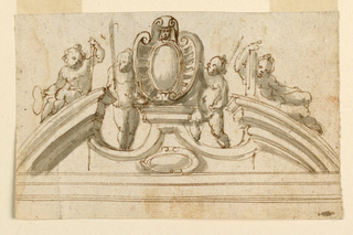 A broken pediment with an escutcheon on a pedestal in the center. It is supported by two standing children, two more crouch on the cornices holding indistinct objects. On verso: blotter of a red crayon head.
